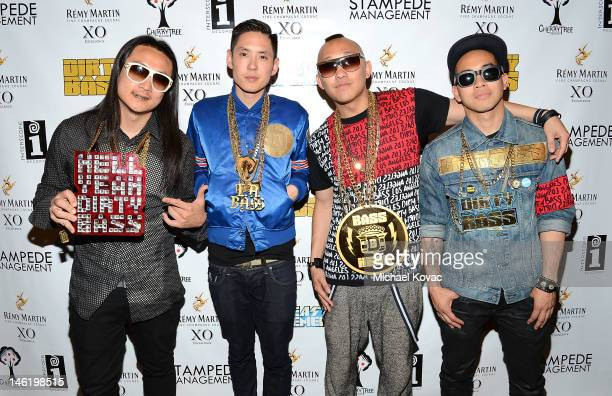 Musicians JSplif Kev Nish Prohgress and DJ Virman of music group Far East Movement attend Remy Martin XO presents Dirty Bass Album Listening Party...