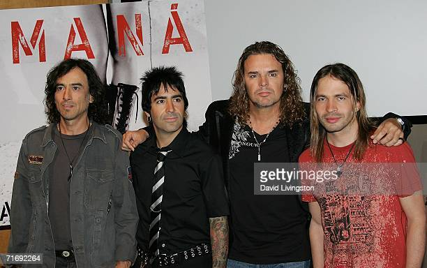 Musicians Juan Calleros Alex Gonzalez Fher Olvera and Sergio Vallin of Mana attend a press conference to celebrate the release of their new CD 'Amar...