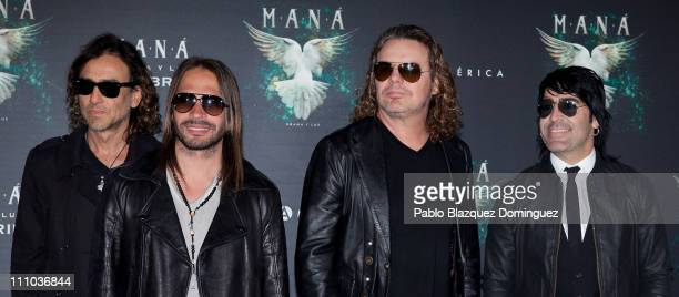 Musicians Juan Calleros Sergio Vallin Fher Olvera and Alex Gonzalez of Mexican Band 'Mana' present New Album 'Drama y Luz' at Casa de America on...