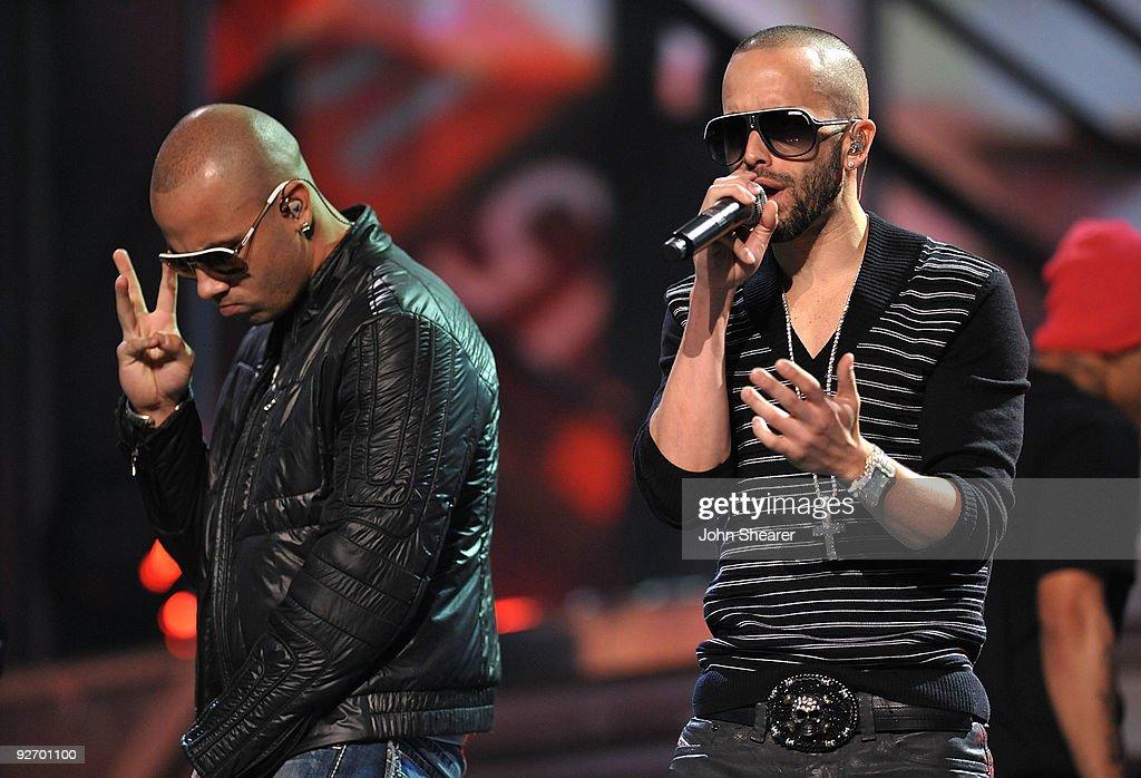 Musicians Juan Luis Morera Luna and Llandel Veguilla Malavé Salazar of Wisin y Yandel perform onstage during the 10th Annual Latin GRAMMY Awards...