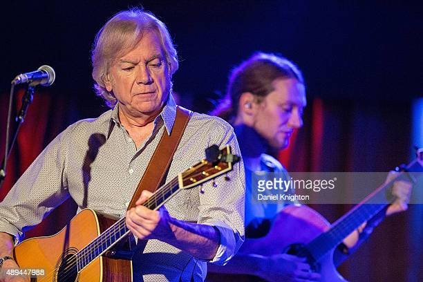 Musicians Justin Hayward and Mike Dawes of Justin Hayward perform on stage at Belly Up Tavern on September 20 2015 in Solana Beach California
