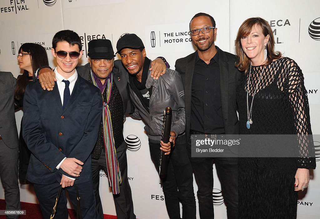 Musicians Justin Kauflin, <a gi-track='captionPersonalityLinkClicked' href=/galleries/search?phrase=Quincy+Jones&family=editorial&specificpeople=171797 ng-click='$event.stopPropagation()'>Quincy Jones</a> and Jon Batiste pose with American Express Director of Entertainment Partnerships Walter Frye and Tribeca Film Festival Co-founder <a gi-track='captionPersonalityLinkClicked' href=/galleries/search?phrase=Jane+Rosenthal&family=editorial&specificpeople=202835 ng-click='$event.stopPropagation()'>Jane Rosenthal</a> at the 'Keep On Keepin' On' world premiere exclusively for American Express Card Members at BMCC Tribeca PAC on April 19, 2014 in New York City.