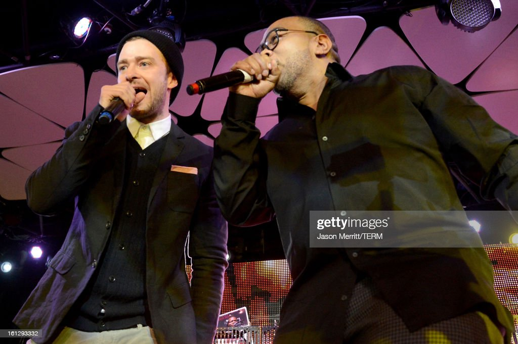 Musicians Justin Timberlake and Timbaland join mPowering Action, a global mobile youth movement at Grammy Week launch, featuring performances by Timbaland and Avicii at The Conga Room at L.A. Live on February 8, 2013 in Los Angeles, California.