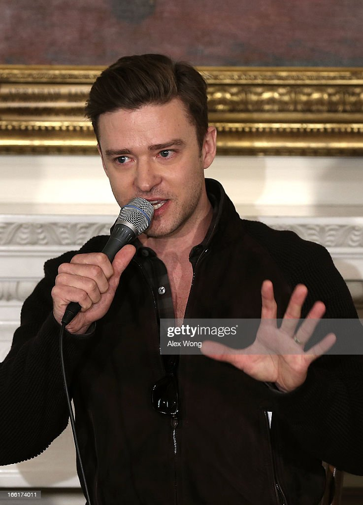 Musicians Justin Timberlake speaks during an interactive student workshop at the State Dining Room of the White House April 9, 2013 in Washington, DC. U.S. first lady Michelle Obama hosted middle and high school students from across the country to take part in the workshop on 'Soulsville,