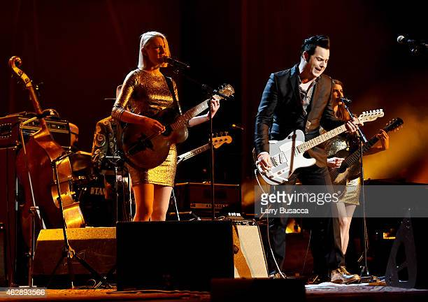 Musicians Kaf Blamire and Jack White perform onstage at the 25th anniversary MusiCares 2015 Person Of The Year Gala honoring Bob Dylan at the Los...