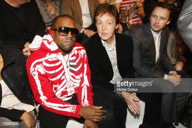 Musicians Kanye West and Paul McCartney attend the Stella McCartney Fashion Show as part of Paris Fashion Week Spring/Summer 2007 on October 5 2006...
