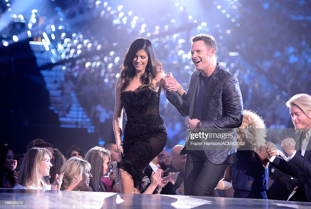 Musicians Karen Fairchild (L) and Jimi Westbrook of Little Big Town onstage during the 48th Annual Academy of Country Music Awards at the MGM Grand Garden Arena on April 7, 2013 in Las Vegas, Nevada.