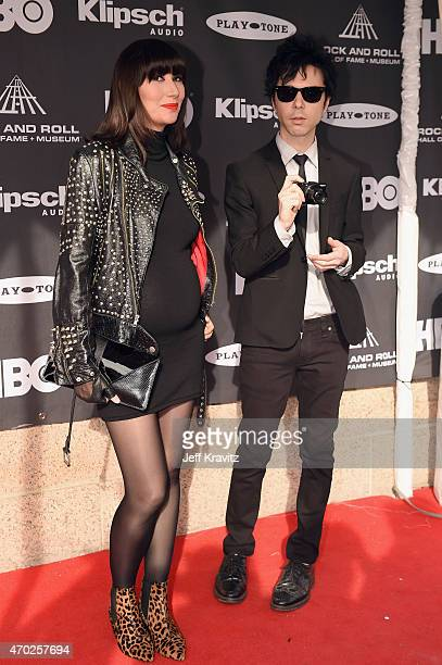 Musicians Karen O Nick Zinner of Yeah Yeah Yeahs and attends the 30th Annual Rock And Roll Hall Of Fame Induction Ceremony at Public Hall on April 18...