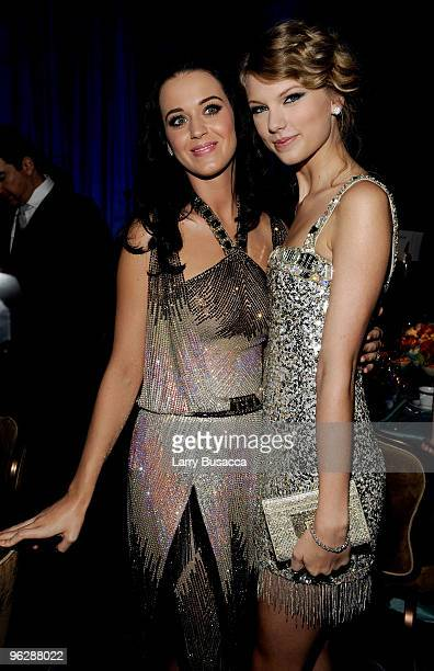 Musicians Kary Perry and Taylor Swift during the 52nd Annual GRAMMY Awards Salute To Icons Honoring Doug Morris held at The Beverly Hilton Hotel on...