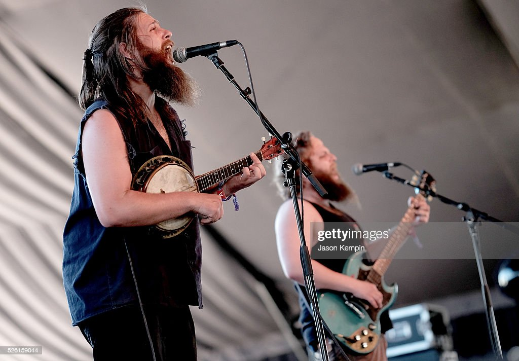 Musicians Kaz (L) and Feinstorm of Tigerman WOAH perform onstage during 2016 Stagecoach California's Country Music Festival at Empire Polo Club on April 29, 2016 in Indio, California.
