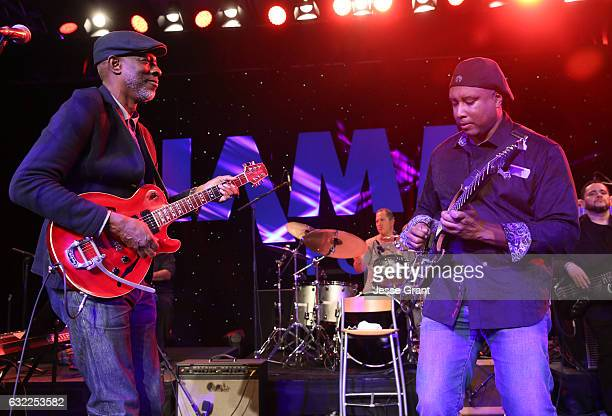 Musicians Keb' Mo' and Bernie Williams perform onstage during the 2017 NAMM Show at the Anaheim Convention Center on January 20 2017 in Anaheim...