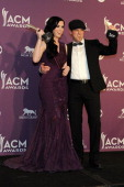 Musicians Keifer Thompson and Shawna Thompson of the band Thompson Square pose in the press room at the 47th Annual Academy Of Country Music Awards...