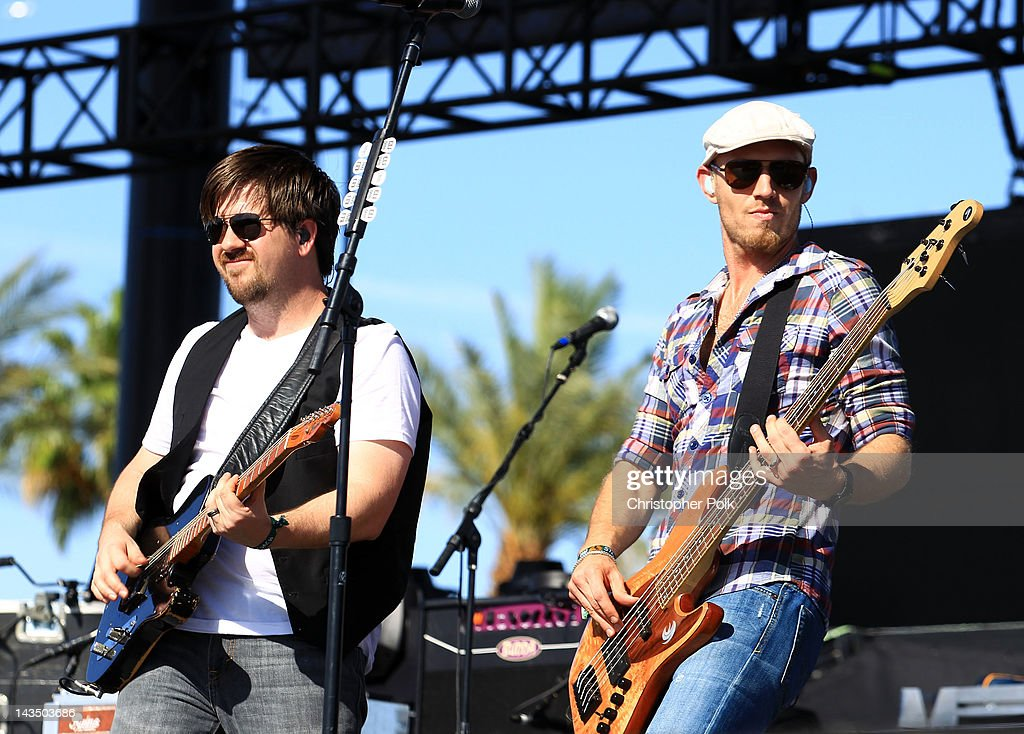Musicians <a gi-track='captionPersonalityLinkClicked' href=/galleries/search?phrase=Keith+Davis&family=editorial&specificpeople=580211 ng-click='$event.stopPropagation()'>Keith Davis</a> (L) and Jon Jones of the Eli Young Band perform onstage during the Stagecoach Country Music Festival held at the Empire Polo Field on April 27, 2012 in Indio, California.