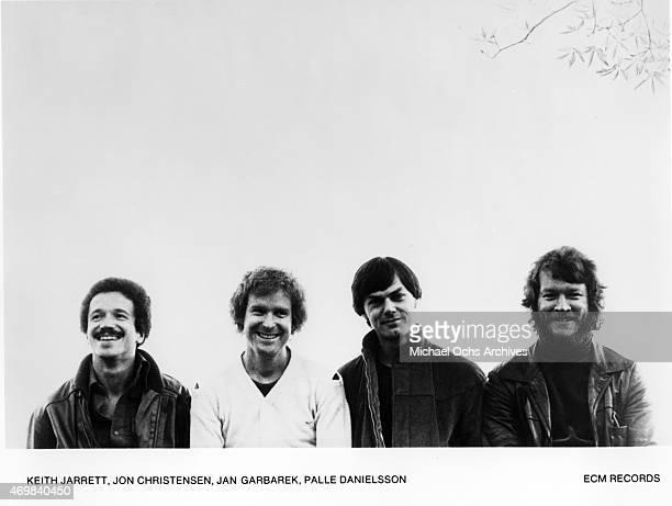 Musicians Keith Jarrett Jon Christensen Jan Garbarek Palle Danielsson pose for a portrait session in 1974 in Los Angeles California