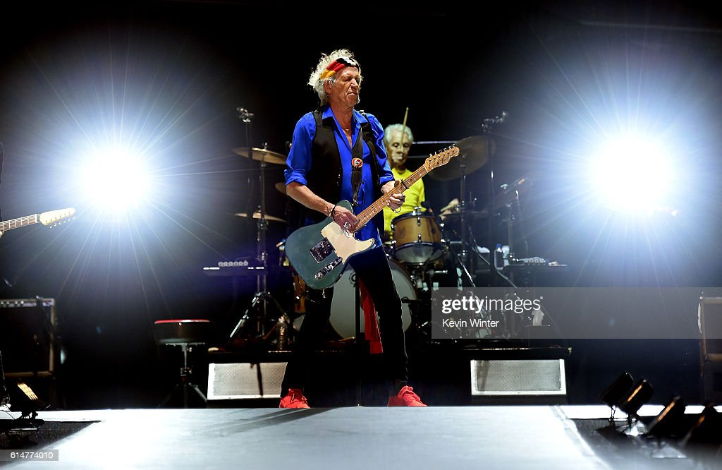 Musicians Keith Richards and Charlie Watts of The Rolling Stones perform during Desert Trip at the Empire Polo Field on October 14, 2016 in Indio, California.