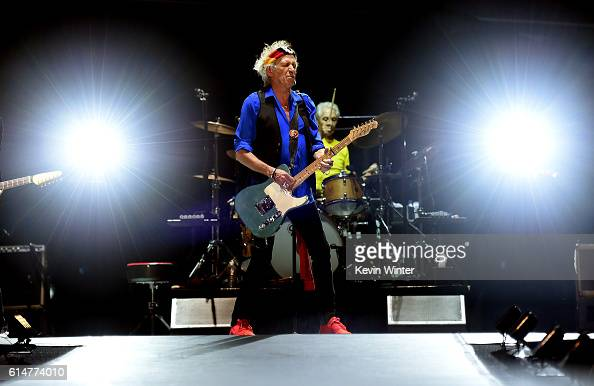 Musicians Keith Richards and Charlie Watts of The Rolling Stones perform during Desert Trip at the Empire Polo Field on October 14 2016 in Indio...