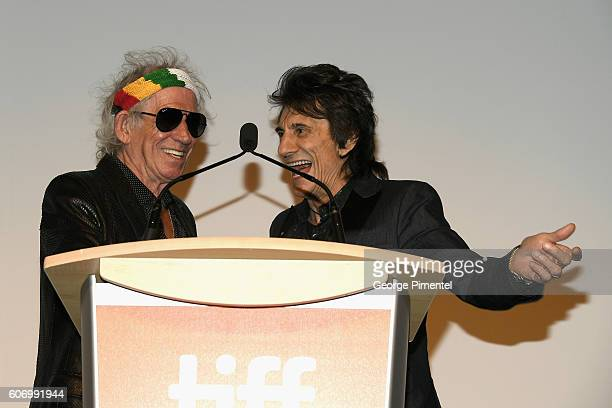 Musicians Keith Richards and Ronnie Wood attend 'The Roling Stones Ole Ole Ole A Trip Across Latin America' Premiere during the 2016 Toronto...