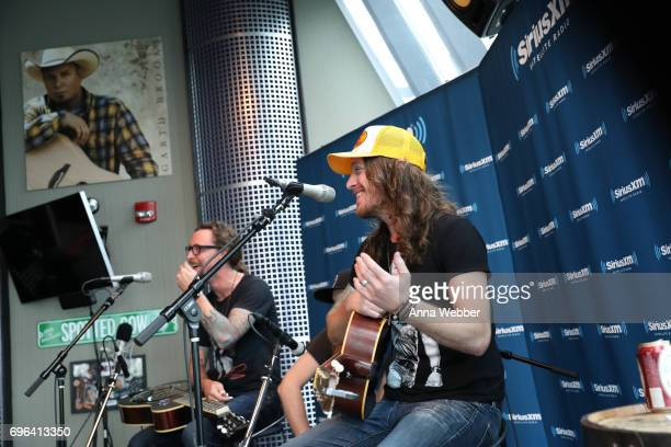 Musicians Kelby Ray and Jaren Johnston of The Cadillac Three Visit SiriusXM Studios In Nashville at SiriusXM Studios on June 15 2017 in Nashville...