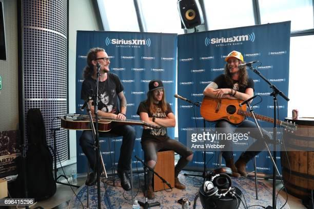 Musicians Kelby Ray Neil Mason and Jaren Johnston of The Cadillac Three Visits SiriusXM Studios In Nashville at SiriusXM Studios on June 15 2017 in...
