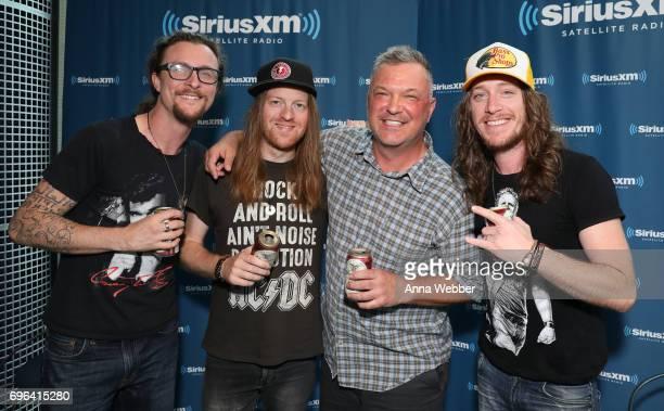 Musicians Kelby Ray Neil Mason SiriusXM host Buzz Brainard and Jaren Johnston of The Cadillac Three Visits SiriusXM Studios In Nashville at SiriusXM...