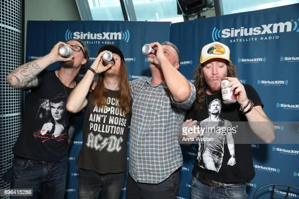 Musicians Kelby Ray Neil Mason SiriusXM host Buzz Brainard and Jaren Johnston of The Cadillac Three Visit SiriusXM Studios In Nashville at SiriusXM...