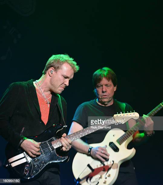 Musicians Kenny Wayne Shepherd and George Thorogood perform during The 55th Annual GRAMMY Awards Music Preservation Project 'Play It Forward' at the...