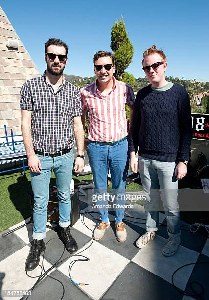 Musicians Kevin Baird Sam Halliday and Alex Trimble of Two Door Cinema Club pose after performing onstage at the 987FM Party Penthouse at The...