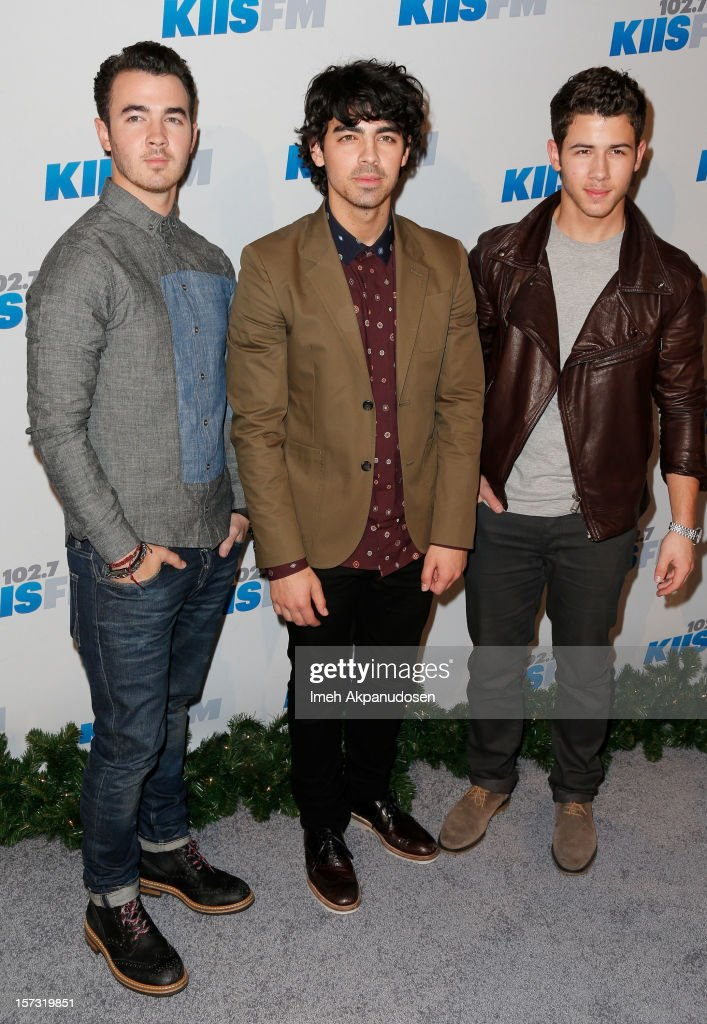 Musicians <a gi-track='captionPersonalityLinkClicked' href=/galleries/search?phrase=Kevin+Jonas&family=editorial&specificpeople=709547 ng-click='$event.stopPropagation()'>Kevin Jonas</a>, <a gi-track='captionPersonalityLinkClicked' href=/galleries/search?phrase=Joe+Jonas&family=editorial&specificpeople=842712 ng-click='$event.stopPropagation()'>Joe Jonas</a> and <a gi-track='captionPersonalityLinkClicked' href=/galleries/search?phrase=Nick+Jonas&family=editorial&specificpeople=842713 ng-click='$event.stopPropagation()'>Nick Jonas</a> of the Jonas Brothers attend KIIS FM's 2012 Jingle Ball at Nokia Theatre L.A. Live on December 1, 2012 in Los Angeles, California.