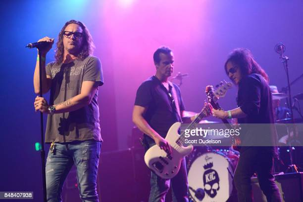 Musicians Kevin Martin of Candlebox Robert DeLeo of Stone Temple Pilots and Steve Stevens of The Billy Idol band perform onstage during the second...