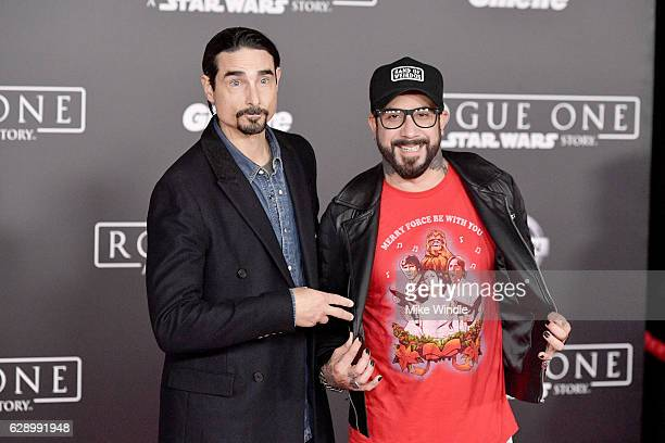 Musicians Kevin Richardson and AJ McLean attend the premiere of Walt Disney Pictures and Lucasfilm's 'Rogue One A Star Wars Story' at the Pantages...