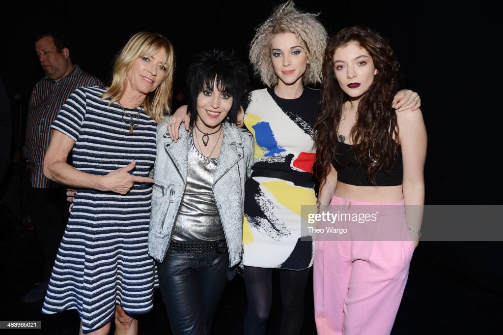 Musicians Kim Gordon, Joan Jett, St. Vincent and Lorde pose backstage at the 29th Annual Rock And Roll Hall Of Fame Induction Ceremony at Barclays Center of Brooklyn on April 10, 2014 in New York City.