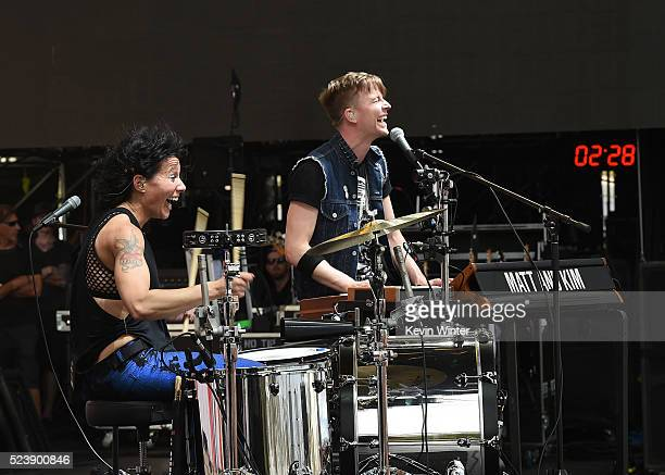 Musicians Kim Schifino and Matt Johnson of Matt and Kim perform onstage during day 3 of the 2016 Coachella Valley Music Arts Festival Weekend 2 at...