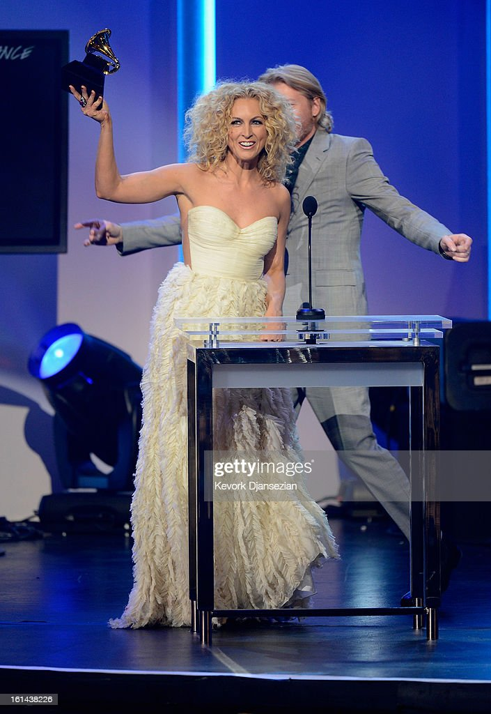 Musicians Kimberly Schlapman and Phillip Sweet of the group Little Big Town, winners of Best Country Duo/Group Performance, onstage at the The 55th Annual GRAMMY Awards at Nokia Theatre on February 10, 2013 in Los Angeles, California.