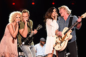Musicians Kimberly Schlapman Jimi Westbrook Karen Fairchild and Phillip Sweet of Little Big Town perform onstage during the 2015 CMA Festival on June...