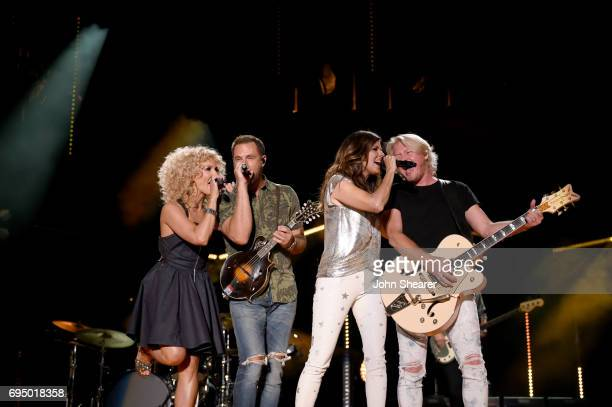 Musicians Kimberly Schlapman Jimi Westbrook Karen Fairchild and Phillip Sweet of Little Big Town perform onstage for day 4 of the 2017 CMA Music...