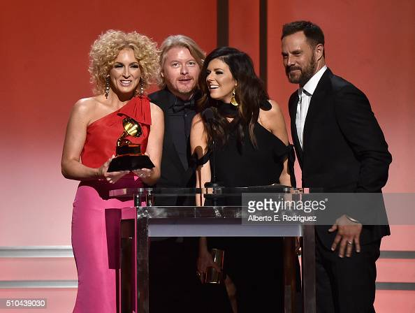 Musicians Kimberly Schlapman Philip Sweet Karen Fairchild and Jimi Westbrook of Little Big Town speak onstage during the GRAMMY PreTelecast at The...