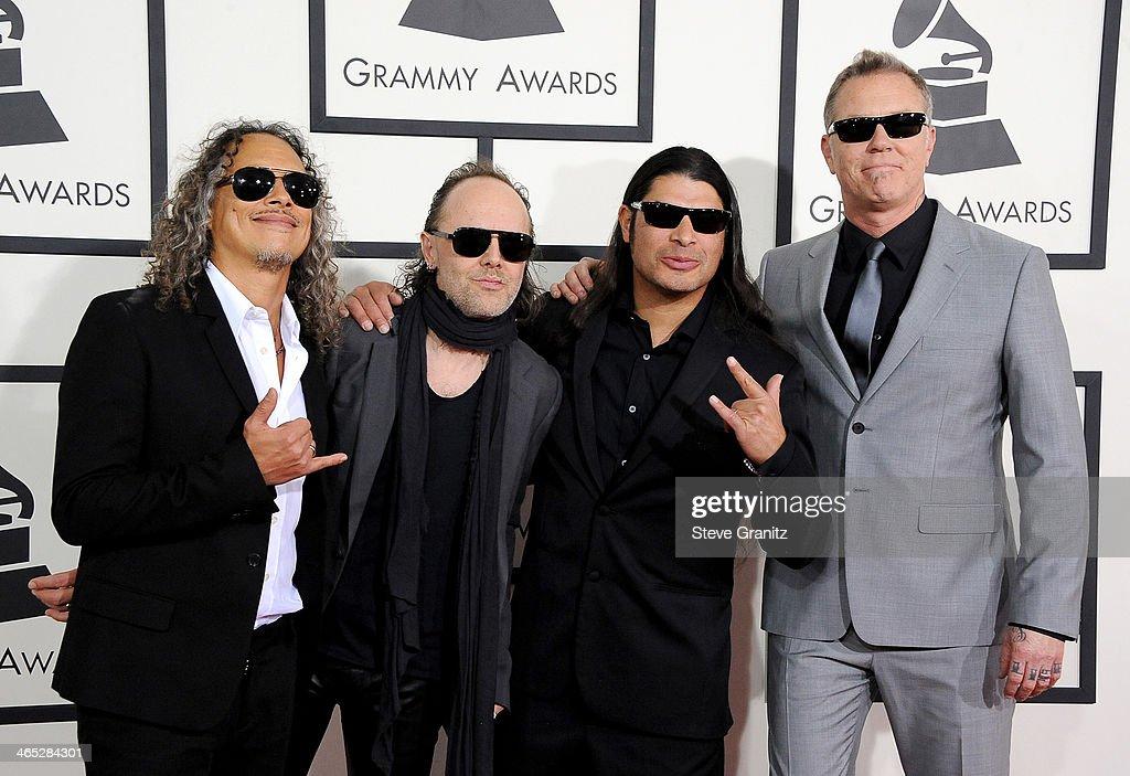 Musicians Kirk Hammett Lars Ulrich Robert Trujillo and James Hetfield of Metallica attend the 56th GRAMMY Awards at Staples Center on January 26 2014...