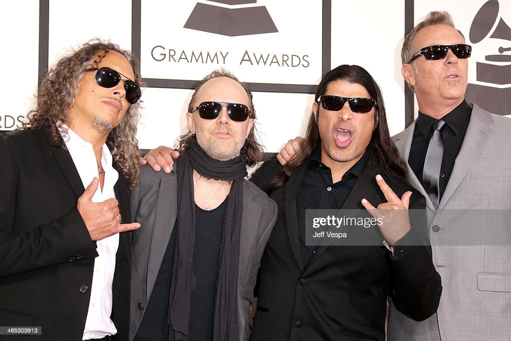 Musicians Kirk Hammett, Lars Ulrich, Robert Trujillo and James Hetfield of Metallica attend the 56th GRAMMY Awards at Staples Center on January 26, 2014 in Los Angeles, California.