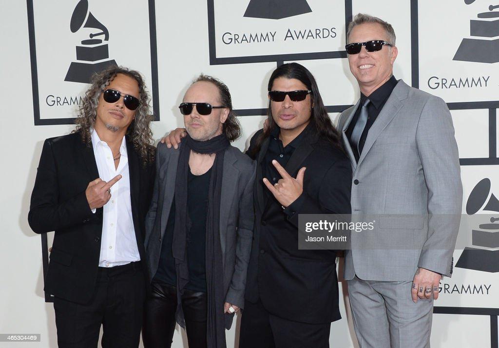Musicians Kirk Hammett, Lars Ulrich, Robert Trujillo and James Hetfield of Metallica attend the 56th GRAMMY Awards at Staples Center on January 26, 2014 in Los Angeles, California.