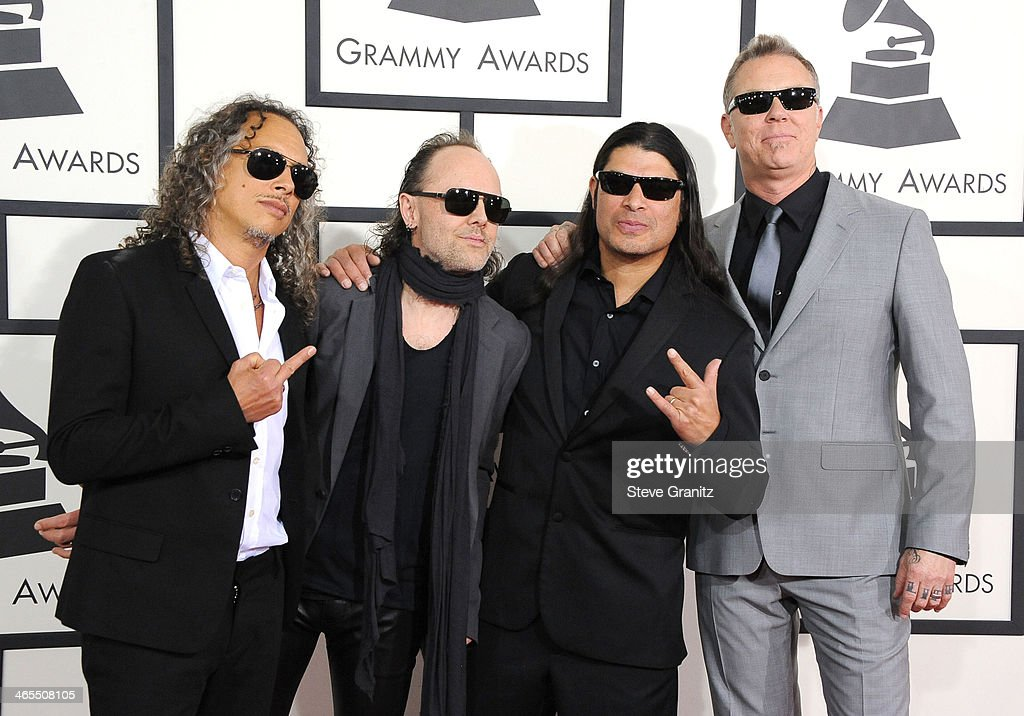 Musicians Kirk Hammett, Lars Ulrich, Robert Trujillo and James Hetfield of Metallica arrivals at the 56th GRAMMY Awards on January 26, 2014 in Los Angeles, California.