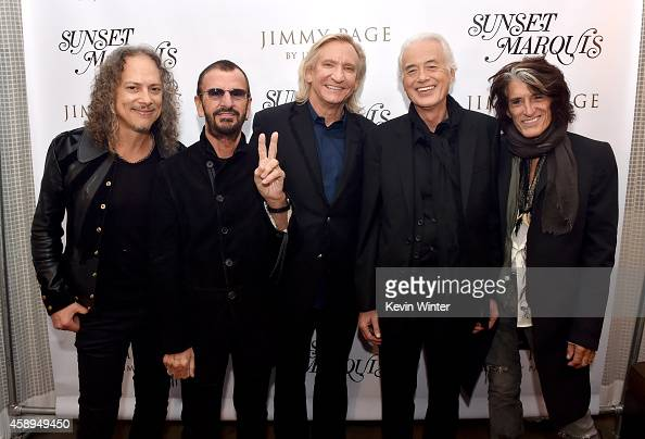 Musicians Kirk Hammett Ringo Starr Joe Walsh Jimmy Page and Joe Perry pose at a private reception and dinner for Jimmy Page to celebrate his new...