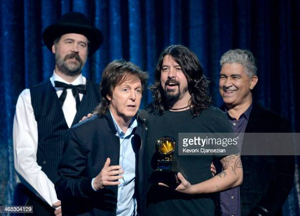 Musicians Krist Novoselic Paul McCartney Dave Grohl and Pat Smear accept the Best Rock Song award for 'Cut Me Some Slack' onstage during the 56th...