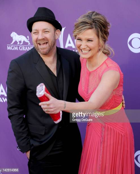 Musicians Kristian Bush and Jennifer Nettles of Sugarland arrive at the 47th Annual Academy Of Country Music Awards at MGM Grand Garden Arena on...