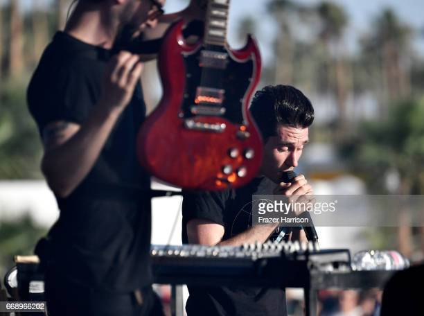 Musicians Kyle J Simmons and Dan Smith of Bastille perform at the Outdoor Stage during day 2 of the Coachella Valley Music And Arts Festival at the...