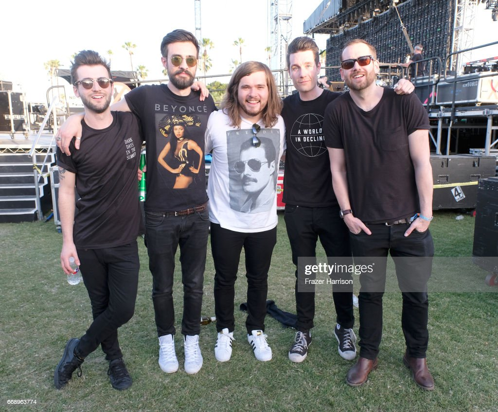 Musicians Kyle J Simmons, Charlie Barnes, Chris 'Woody' Wood, Dan Smith and Will Farquarson of Bastille pose backstage at the Outdoor Stage during day 2 of the Coachella Valley Music And Arts Festival (Weekend 1) at the Empire Polo Club on April 15, 2017 in Indio, California.