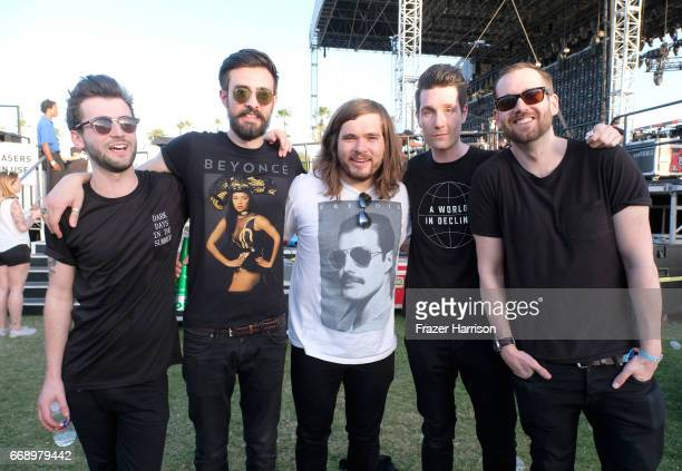 Musicians Kyle J Simmons Charlie Barnes Chris 'Woody' Wood Dan Smith and Will Farquarson of Bastille pose backstage at the Outdoor Stage during day 2...