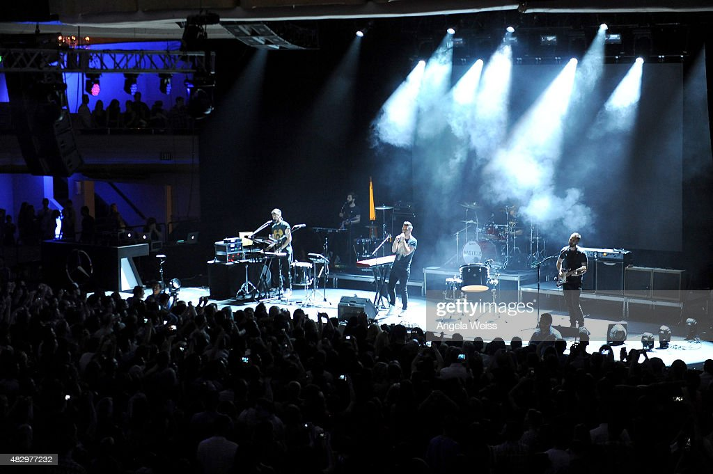 Musicians Kyle J Simmons, Dan Smith, Chris 'Woody' Wood, and Will Farquarson of Bastille perform onstage during the Mercedes-Benz 2015 Evolution Tour on August 4, 2015 in Los Angeles, California.