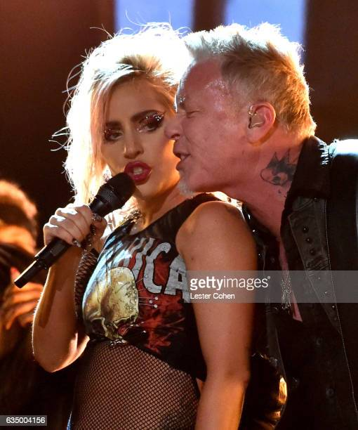 Musicians Lady Gaga and James Hetfield of Metallica perform onstage during The 59th GRAMMY Awards at STAPLES Center on February 12 2017 in Los...
