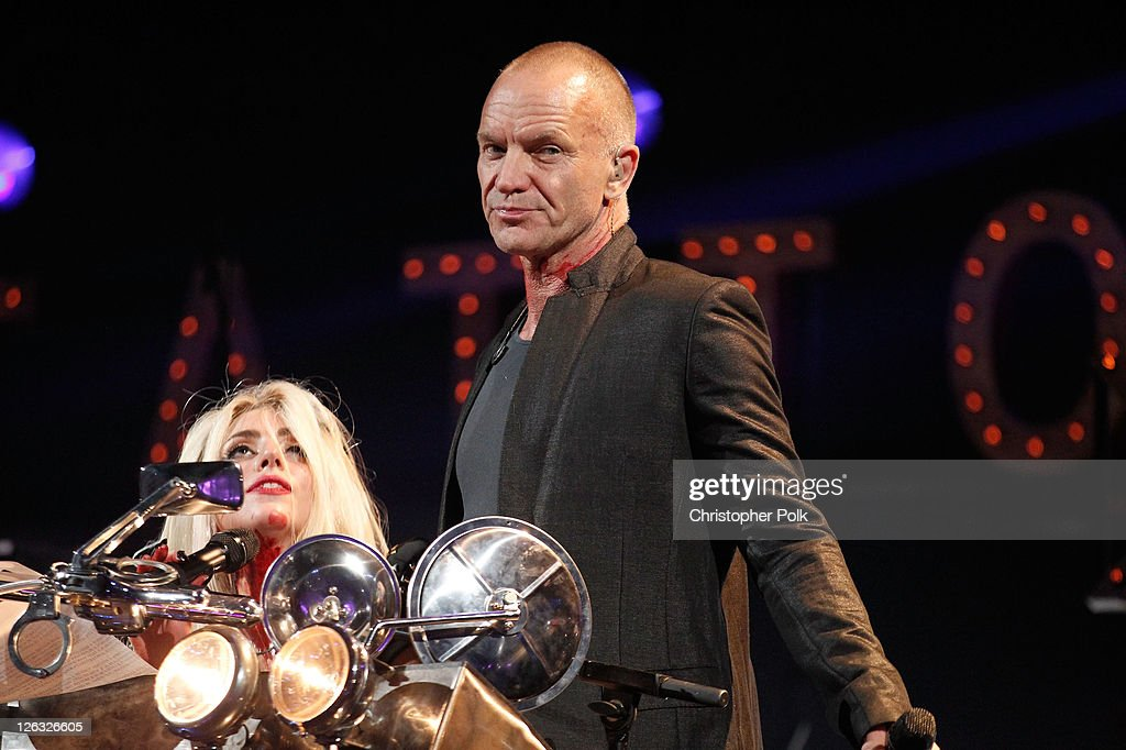 Musicians <a gi-track='captionPersonalityLinkClicked' href=/galleries/search?phrase=Lady+Gaga&family=editorial&specificpeople=4456754 ng-click='$event.stopPropagation()'>Lady Gaga</a> and Sting perform onstage at the iHeartRadio Music Festival held at the MGM Grand Garden Arena on September 24, 2011 in Las Vegas, Nevada.