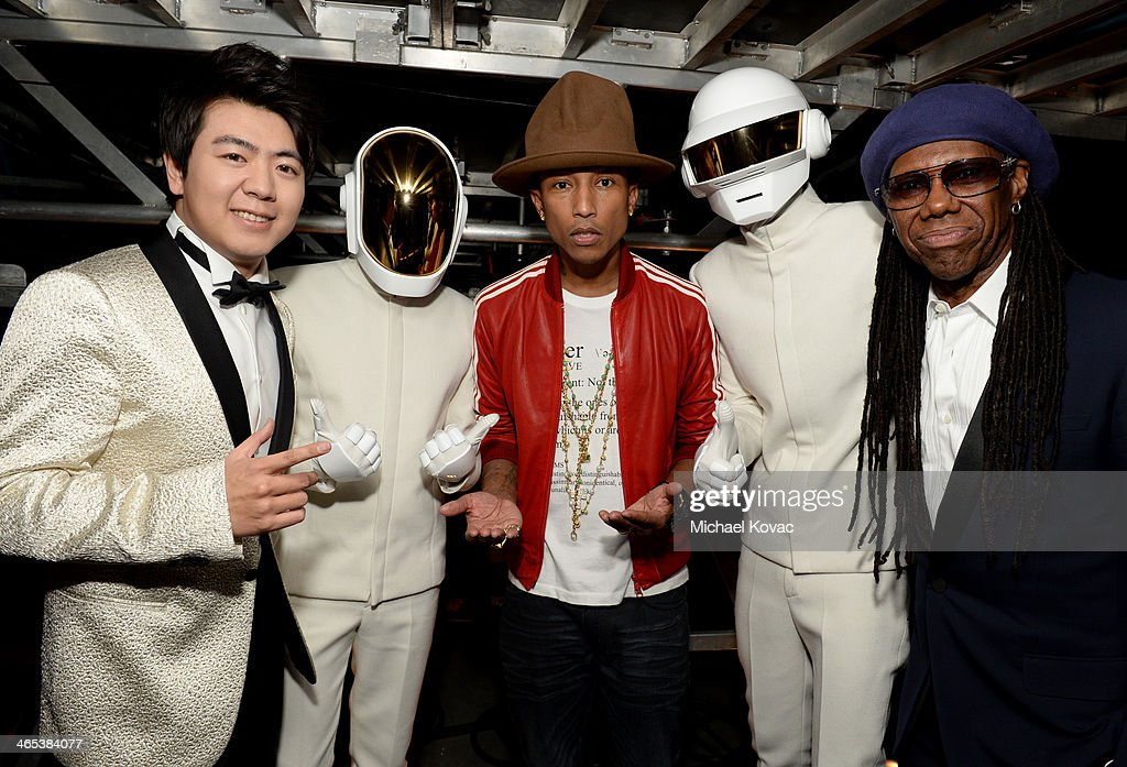 Musicians Lang Lang, Guy-Manuel de Homem-Christo, Pharrell Williams, Thomas Bangalter, and Nile Rodgers attend the 56th GRAMMY Awards at Staples Center on January 26, 2014 in Los Angeles, California.